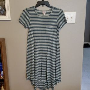 Lularoe Carly Dress with blue and white stripes
